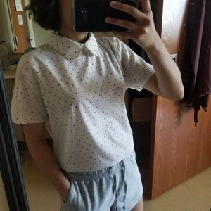 American Apparel Polka Dot Peter Plan Blouse